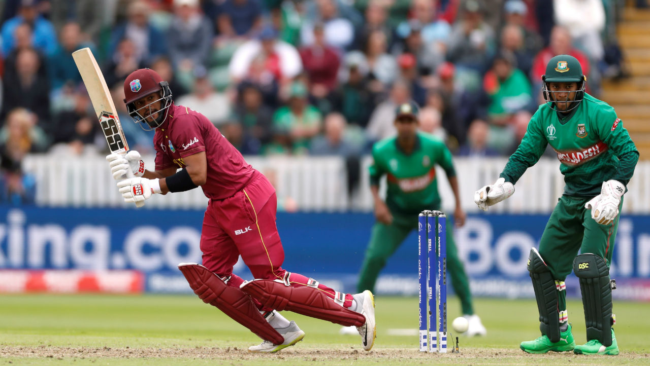 Shai Hope played an industrious knock of 96 off 121 balls before he fell in the 47th over attempting a big shot against Mustafizur. West Indies were 297/7. (Image: Reuters)