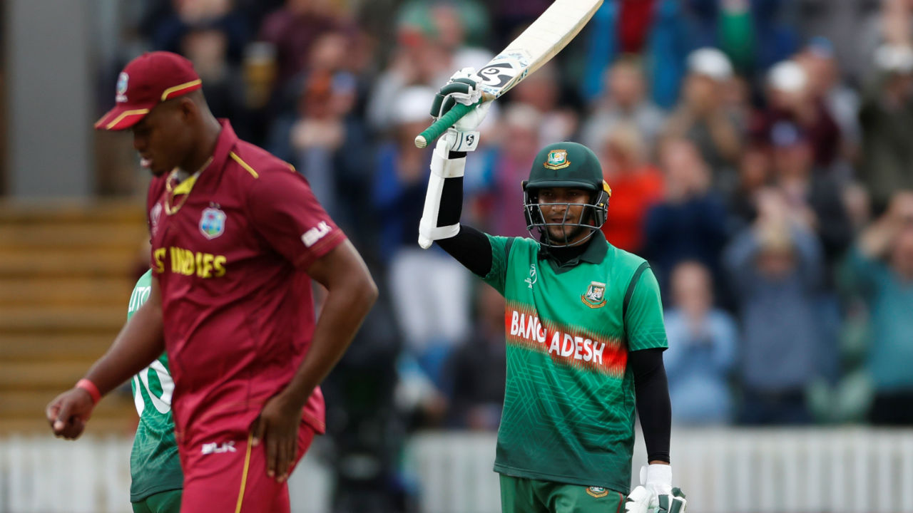 Shakib batted brilliantly and completed his hundred in the 34th over. The all-rounder remained not out on 124. (Image: Reuters)