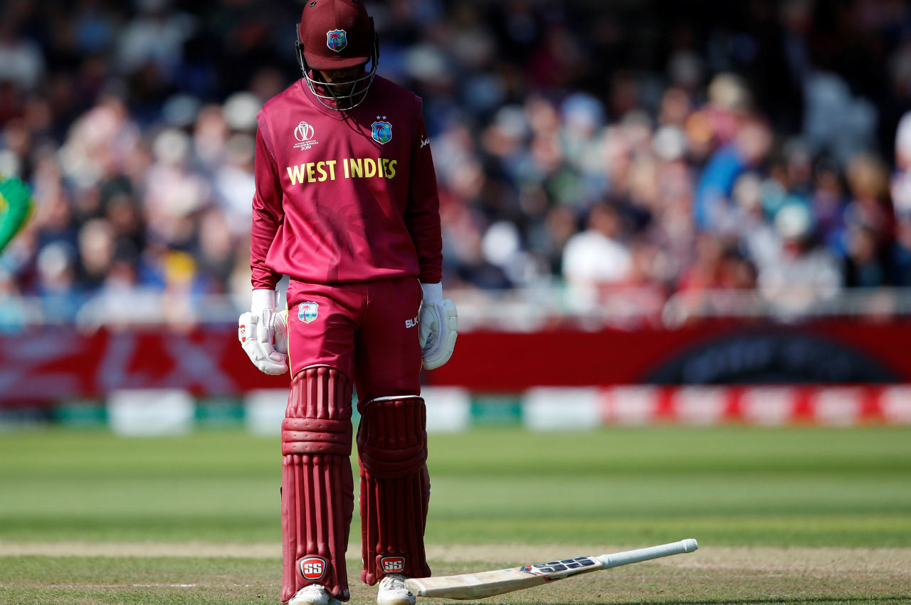 Hope played a slow but steady innings of 68 from 105 balls and was dismissed by Cummins in the 35th over. West Indies were 190/5 when Hope got out. (Image: Reuters)