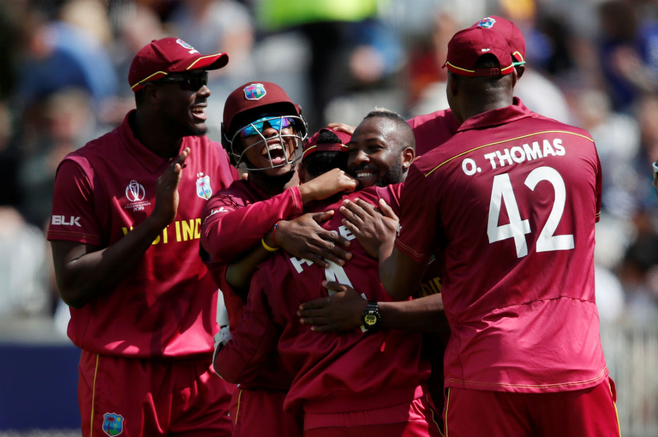West Indies were off to a flying start as pacers Oshane Thomas and Sheldon Cottrell dismissed Australian openers Aaron Finch and David Warner inside 4 overs. Finch made 6 while Warner made just 3. Australia were struggling at 26/2. (Image: Reuters)