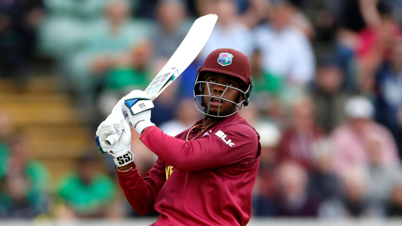 Shimron Hetmyer played a blistering knock of 50 from 26 deliveries hitting 4 boundaries and 3 sixes before Mustafizur Rahman got the batsman out in the 40th over. West Indies were 242/4 when Hetmyer walked back to the dressing room. (Image: Reuters)