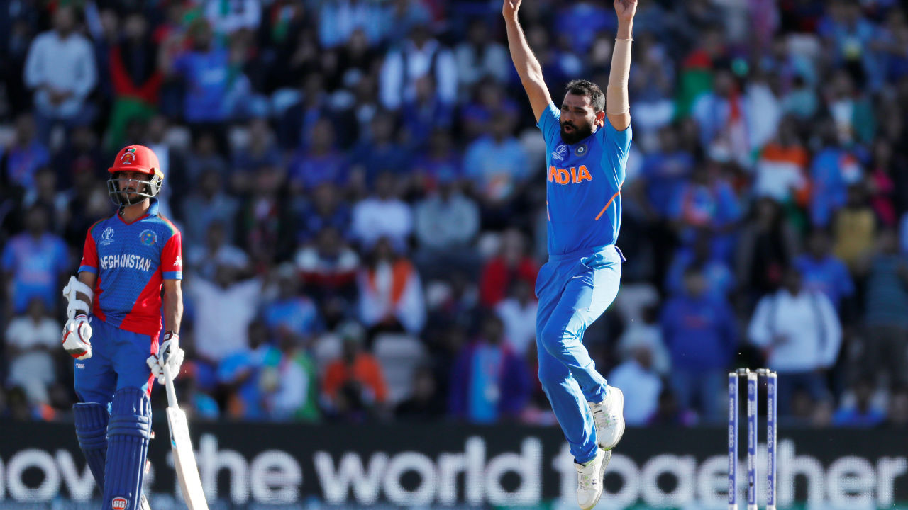 Nabi holed the third ball of the last over to Pandya at long on. Shami then castled Aftab Alam and Mujeeb Ur Rahma off successive deliveries to complete his hat-trick and seal a thrilling 11-run win for India. (Image: Reuters)