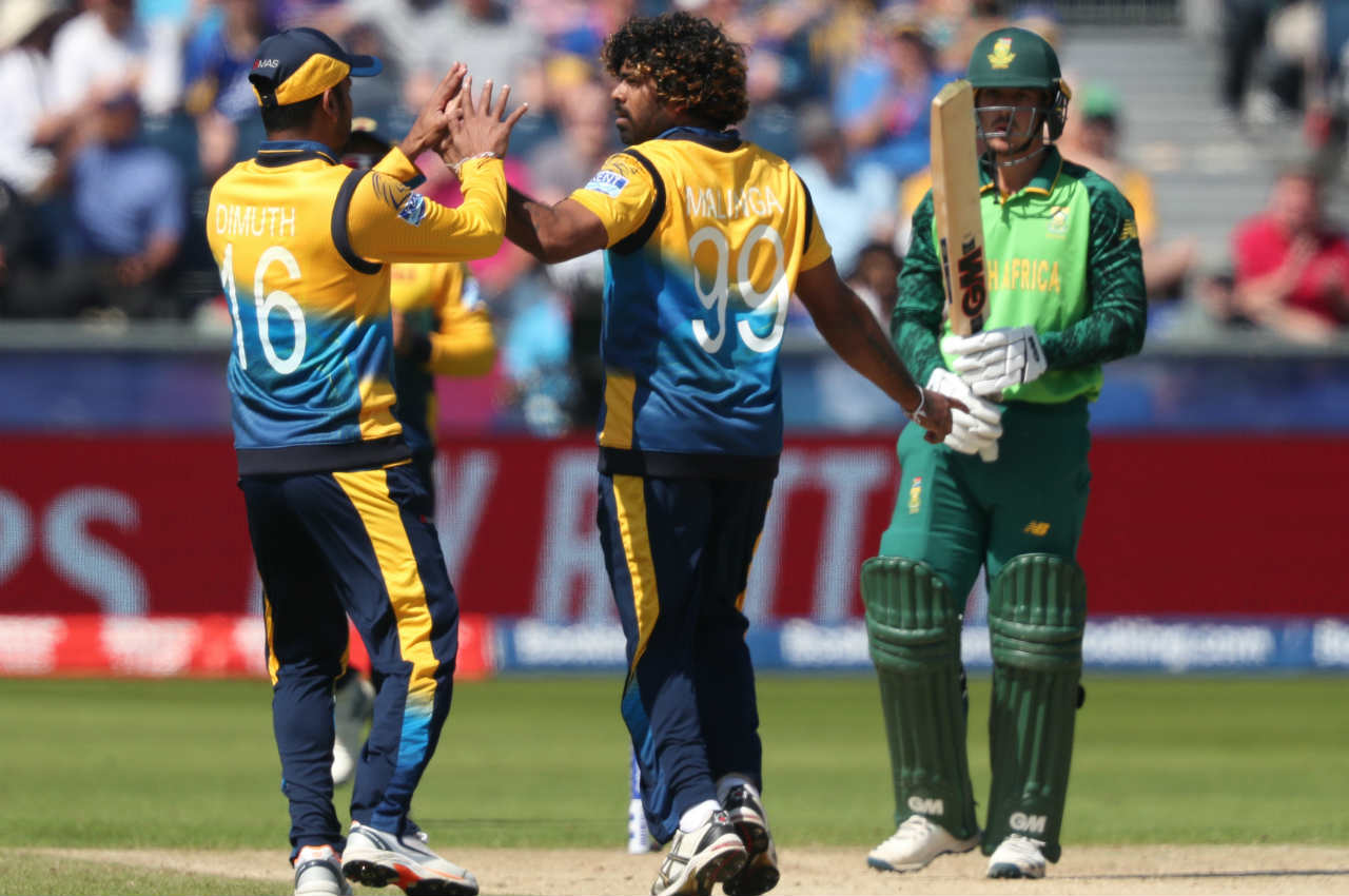 Quinton de Kock and Hasim Amla gave South Africa a fast start. But Malinga bowled a peach of a yorker to send back de Kock in the 5th over. de Kock made 15 off 16 as South Africa were 31/1. (Image: Reuters)