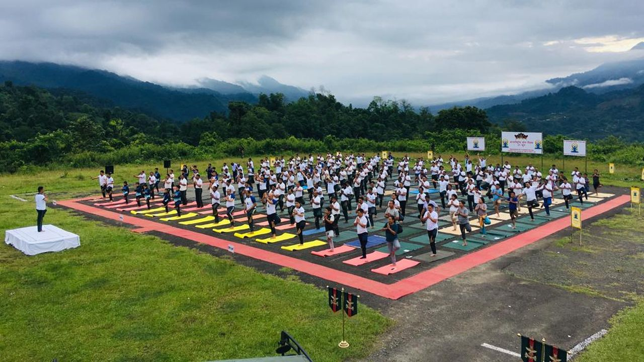 Yoga performed at Indo-Myanmar Border during the fifth International Day of Yoga. (Image: Twitter/@SpokespersonMoD)