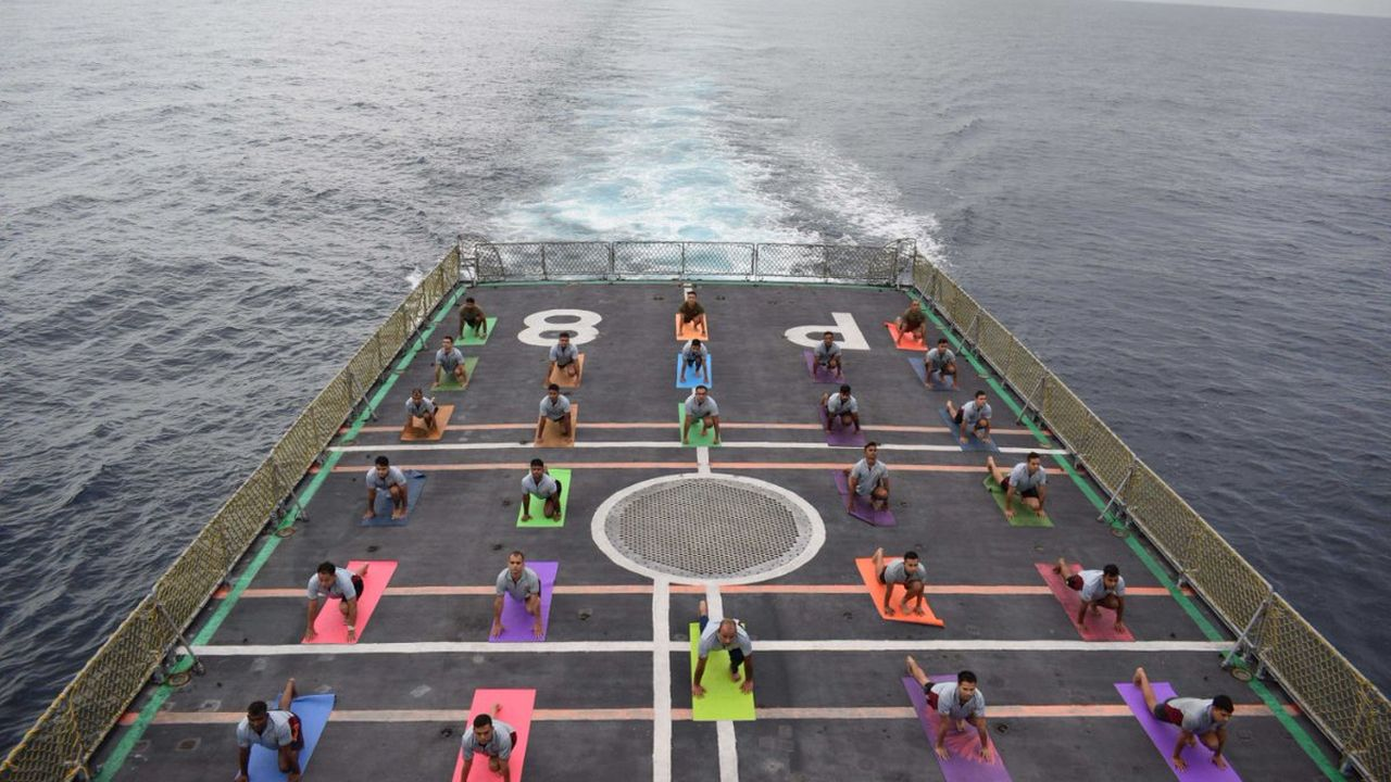 Yoga performed at INS Sumedha during the fifth International Day of Yoga. (Image: Twitter/@SpokespersonMoD)
