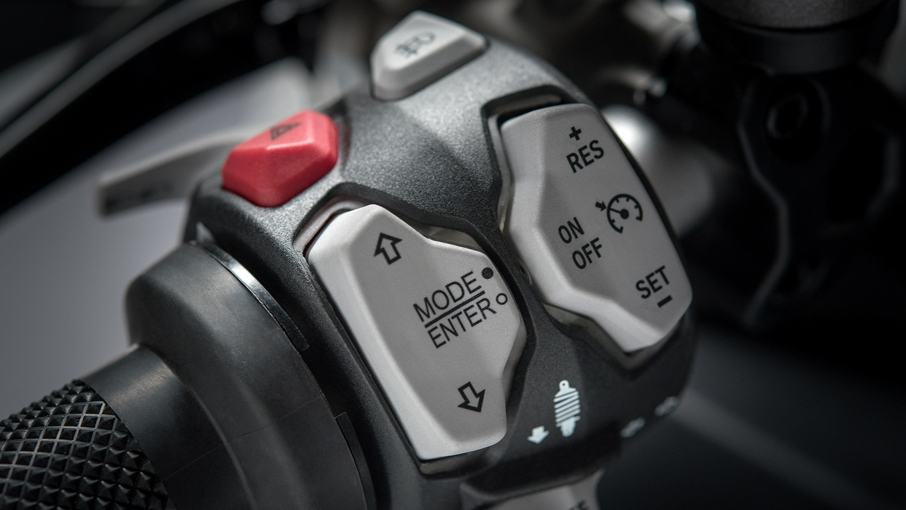 Electronic rider aids in the motorcycle include Vehicle Hold Control (VHC), Power Modes, Ducati Safety Pack (Bosch Cornering ABS + DTC), Ducati Wheelie Control (DWC) and different riding modes including Sport, Touring, Urban and Enduro. These modes can also be further customized as per the rider's choice. (Image source: Ducati.com)