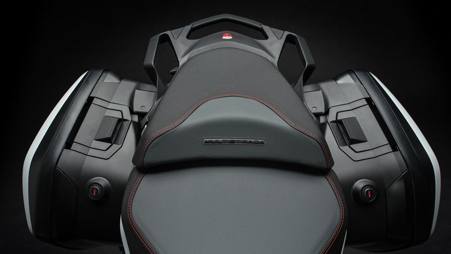 The Multistrada 1260 Enduro's seat height has been reduced by 10mm, making it easier to ride for short riders. It also gets optional panniers on either side for carrying luggage. (Image source: Ducati.com)