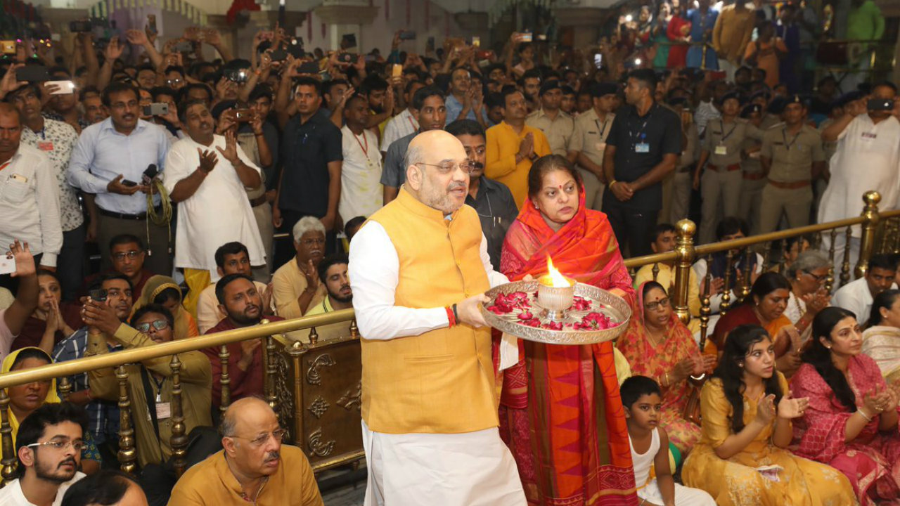 Union Home Minister Amit Shah today participated in a ''Mangala Aarti'' at the historic Jagannath Temple, Ahmedabad. (Image: Amit Shah/Twitter)