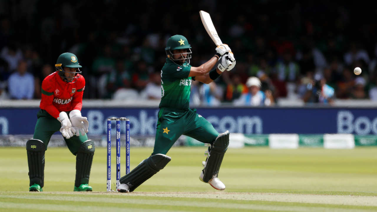 Following Fakhar's early dismissal, Babar Azam and Imam Ul Haq put together a 157-run partnership during which Babar completed his fourth fifty of the tournament. (Image: Reuters)