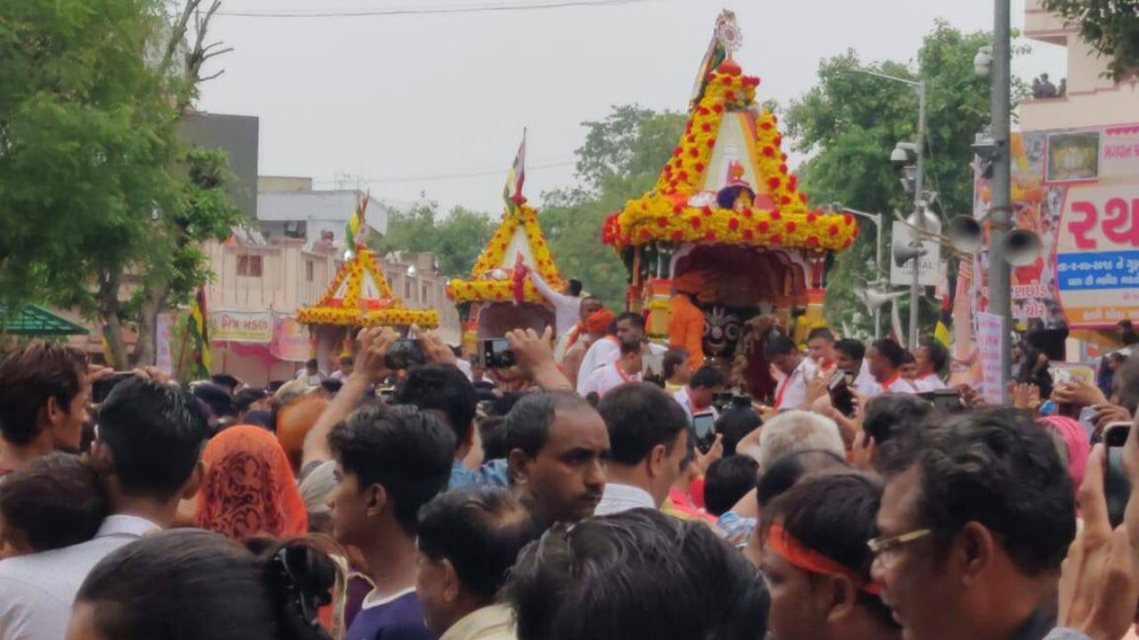 The annual Jagannath Rath Yatra began in Puri, Odisha on July 4. The religious procession commemorates a journey by Hindu god Jagannath, his brother Balabhadra and sister Subhadra, in specially made chariots. (Image: Gujarat Information Department/Twitter)