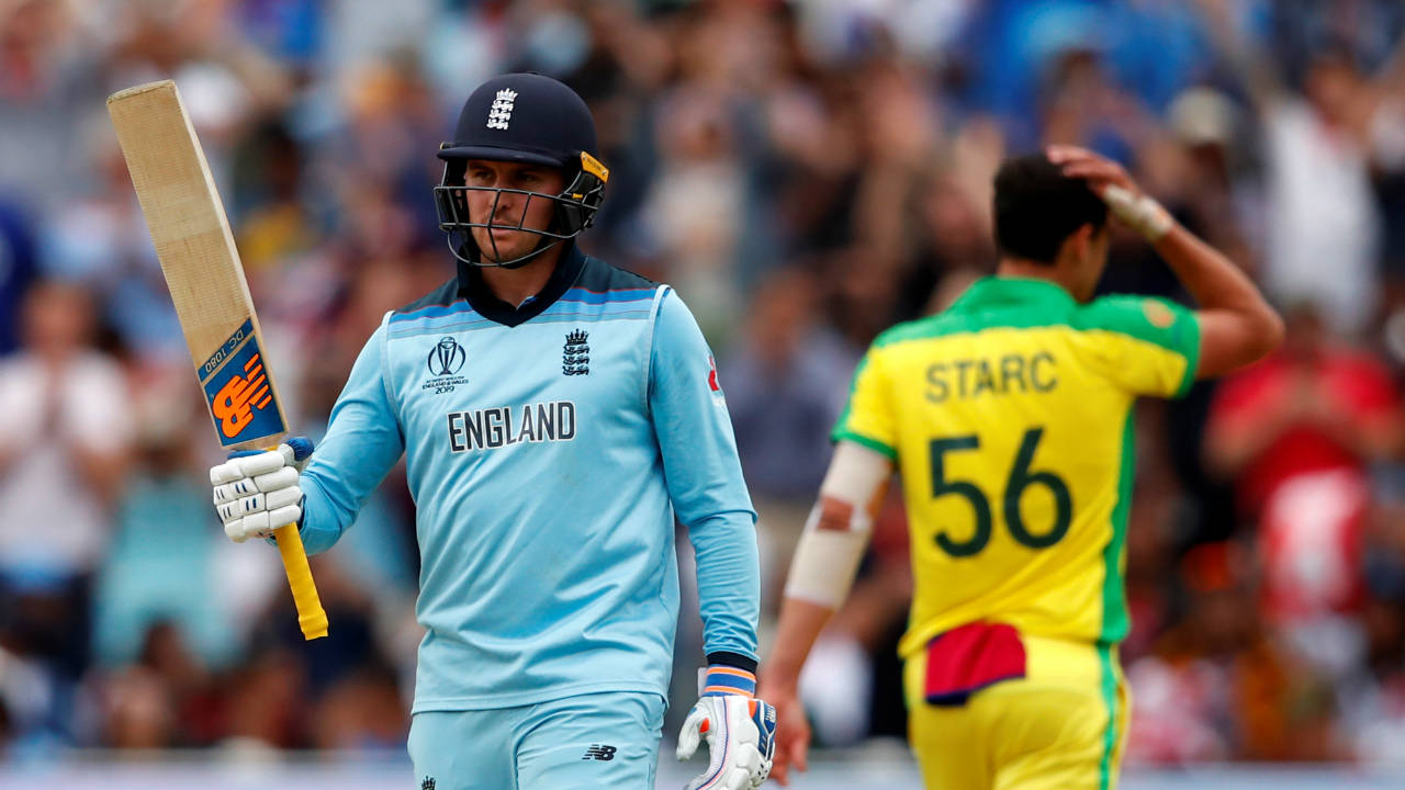 Roy ripped apart the Australian bowling lineup and reached his fifty with a splendid boundary against Mitchell Starc in the 15th over. England were cruising at 95/0 after 15 overs. (Image: Reuters)
