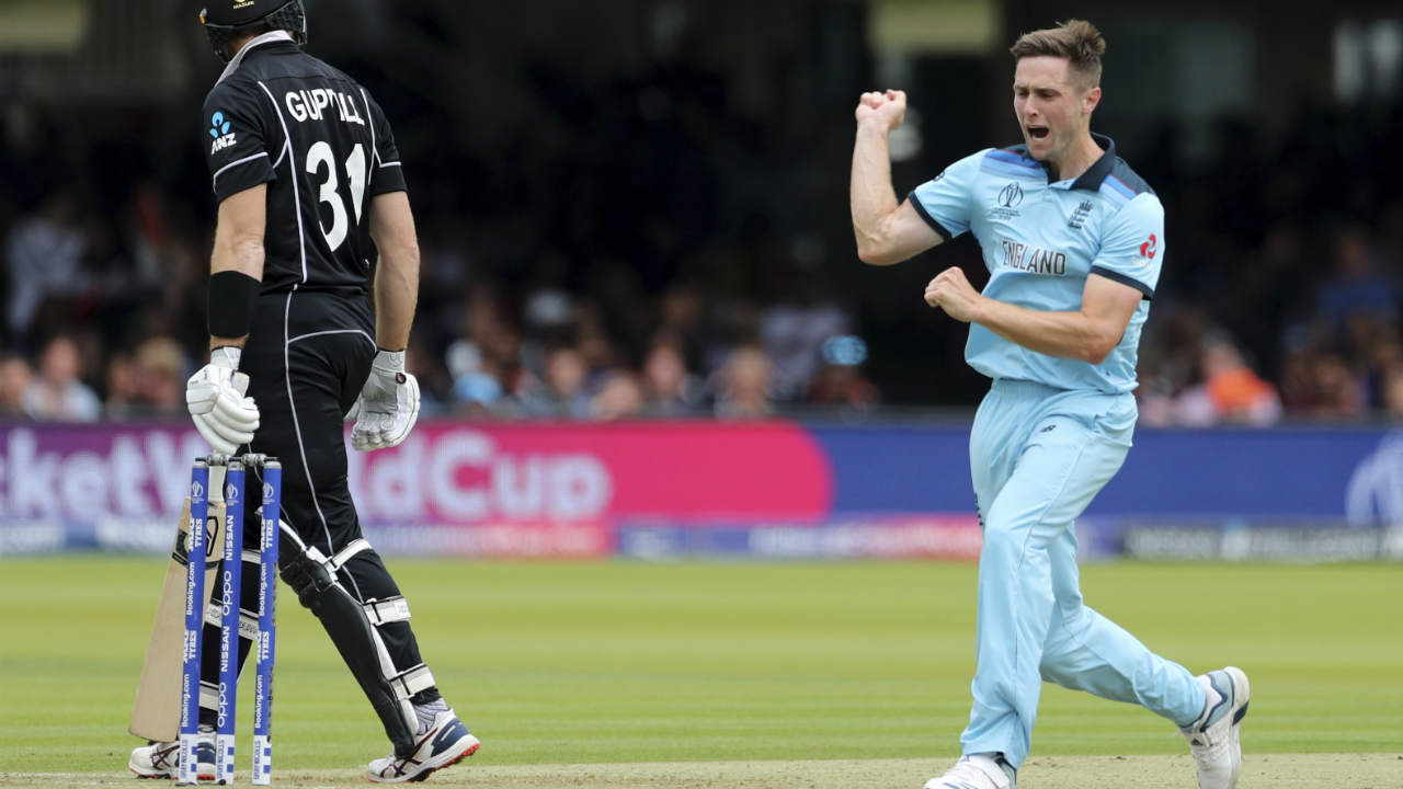 England drew the first blood when Chris Woakes trapped Guptill LBW in the seventh over. Guptill made 19 off 18 as New Zealand were 29/1 after 6.2 overs. (Image: Reuters)