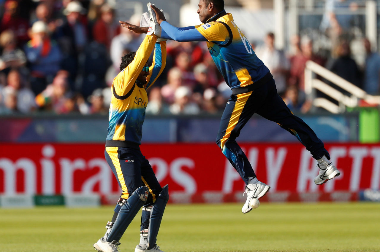 Angelo Mathews bowled the 48th over of the match and got the vital wicket of Pooran. Pooran walked back after making 118 off 103. West Indies choked in the chase and Sri Lanka won the match by 23 runs. (Image: Reuters)