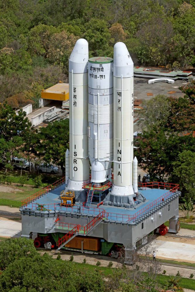 Transportation of partially integrated GSLV MkIII M1 vehicle on the mobile launch pedestal (Image: ISRO)