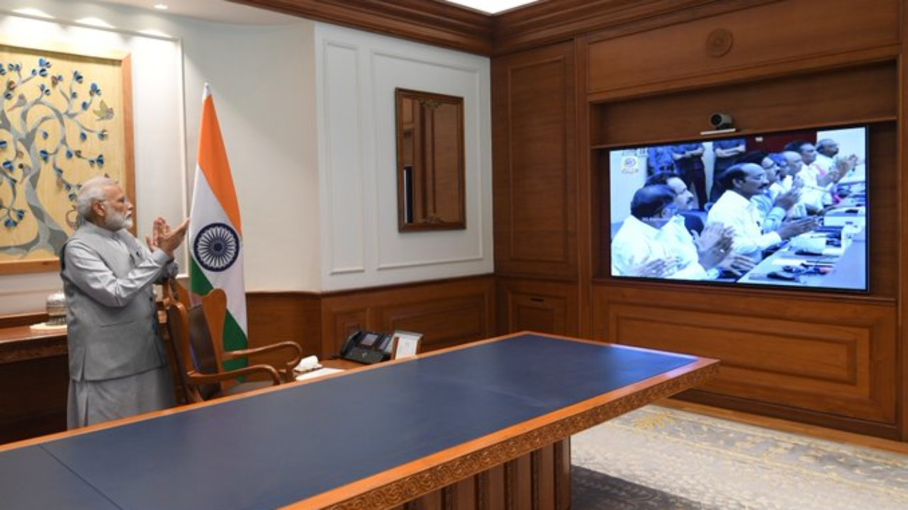 """Prime Minister Narendra Modi congratulated the scientists at ISRO for the launch of Chandrayaan 2. In a tweet, he said, """"Special moments that will be etched in the annals of our glorious history! """"(Image: Twitter/@NarendraModi)"""