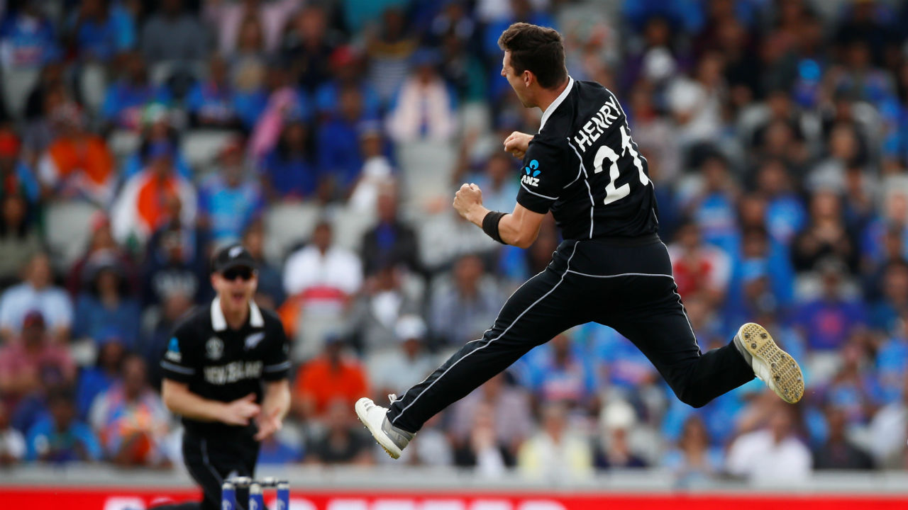 Defending a paltry total of 240, New Zeland were off to a flying start as Matt Henry got the big wicket of Rohit Sharma in just the second over of India's chase. Rohit edged a delivery from Henry to Latham. The Indian opener made just 1 off 4 deliveries as India were 4/1. (Image: Reuters)