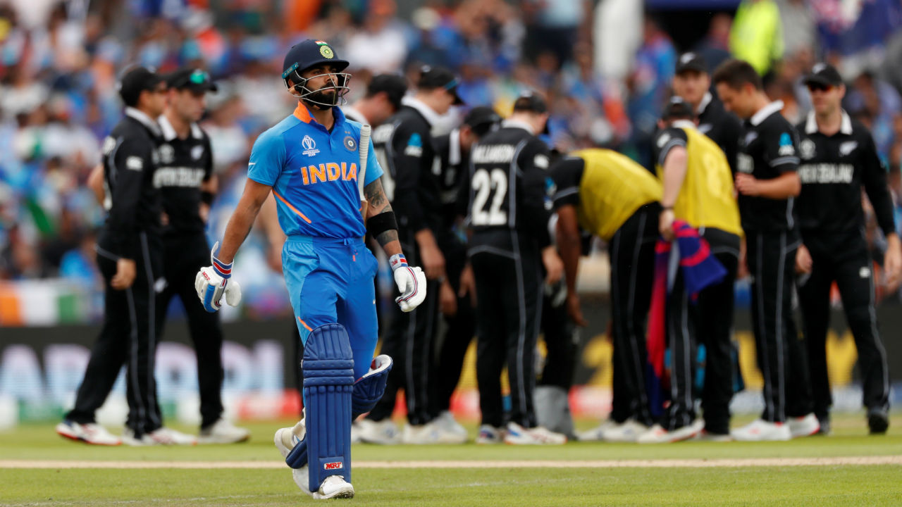 India received another major jolt soon as skipper Kohli was trapped dead in front of the wickets by Trent Bolut in the third over. Kohli made 1 off 6 as India were struggling at 5/2. (Image: Reuters)