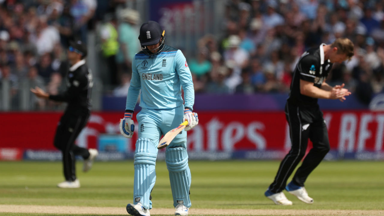 James Neesham gave New Zealand the first breakthrough in the match. The Blackcaps all-rounder got Roy caught by Mitchell Santner in the 19th over. Roy walked back after making 60 off 61 as England were 123/1. (Image: Reuters)