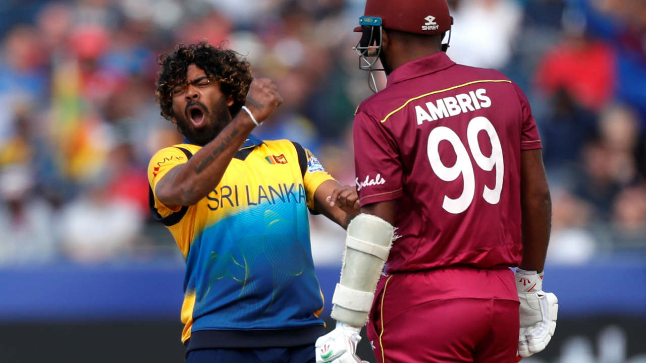 West Indies chase began on a wrong note as Lasith Malinga dismissed Sunil Ambris in the third over. Ambris made just 5 as West Indies were 12/1. (Image: Reuters)