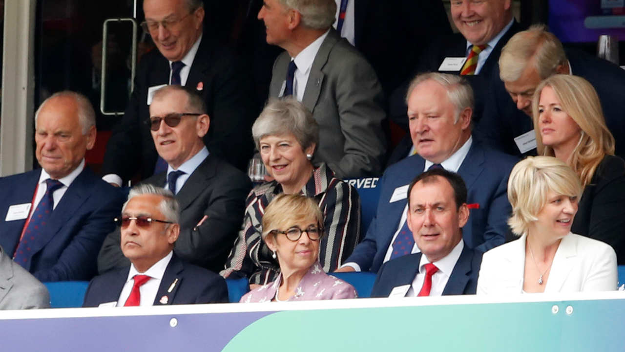 Britain's Prime Minister Theresa May along with her husband Philip May was at Lord's to grace the final. (Image : Reuters)
