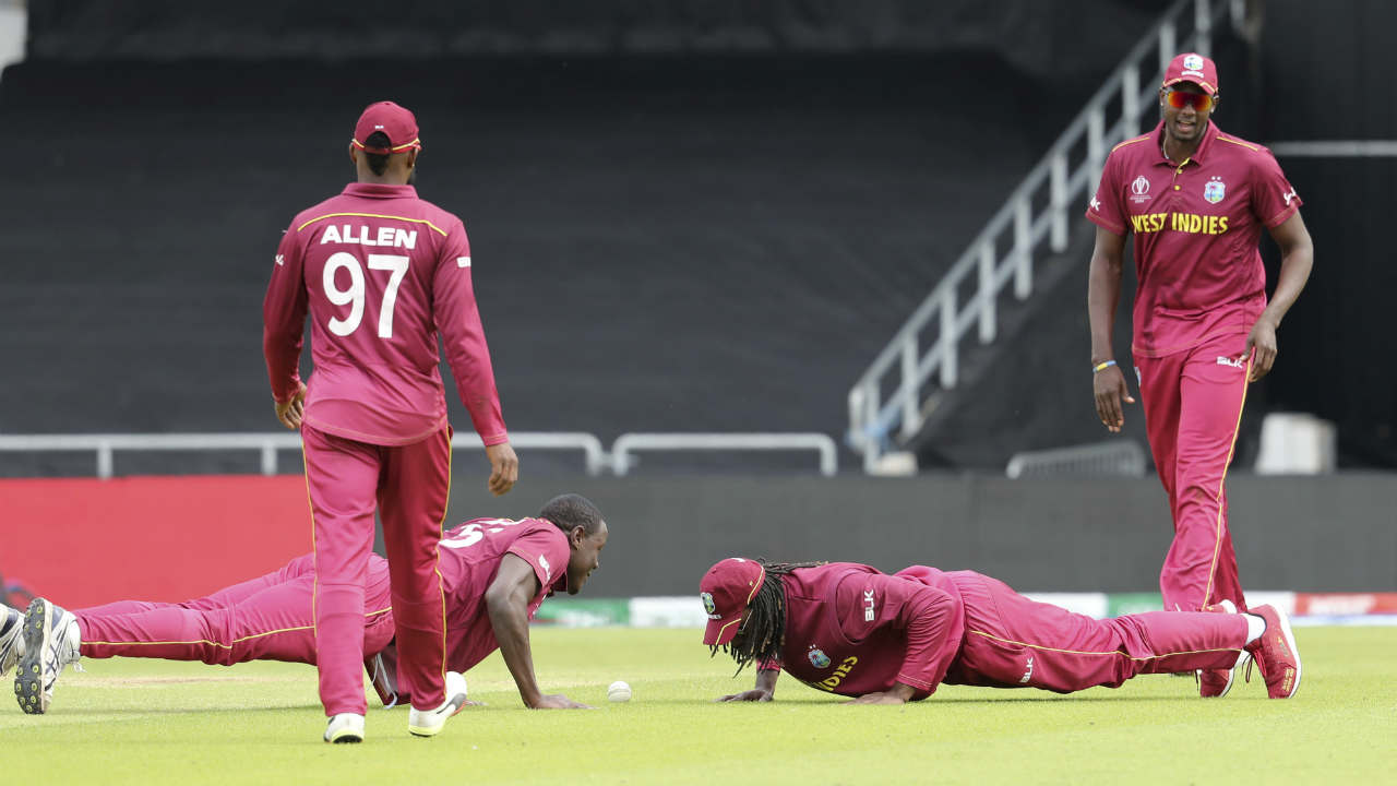 The partnership looked good until but Rahmat mistimed a slower delivery from Brathwaite to Gayle at short extra cover. Gayle took a low diving catch and stayed on the ground as Brathwaite then joined him and together they did a few push-ups to celebrate the dismissal. (Image: AP)