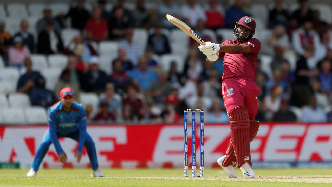 Evin Lewis and Shai Hope then stitched an 88-run partnership to steady the innings. Lewis also brought up his half-century off 62 balls in the 20th over. He couldn't convert that into a bigger score as Rashid Khan got him caught out in the 25th over. Lewis returned with 58 off 78 balls. (Image: Reuters)