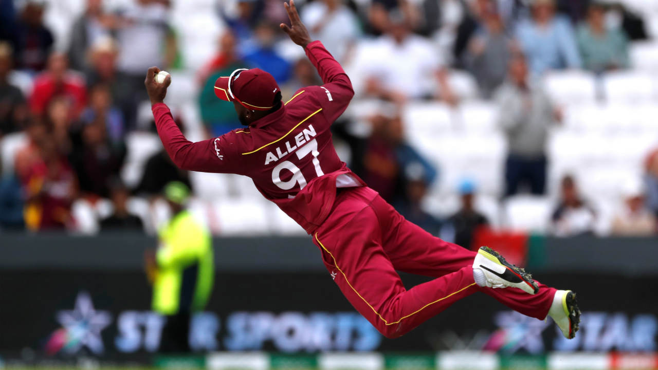 Sayed Shirzad hit a few lusty blows at the end of the innings but was finally dismissed on 25 off 17 balls on the very last ball of the innings when Fabian Allen took a brilliant one-handed diving catch while running towards the boundary. West Indies won by 23 runs and Shai Hope was adjudged the Man of the Match for his 77 off 92 balls. (Image: Reuters)