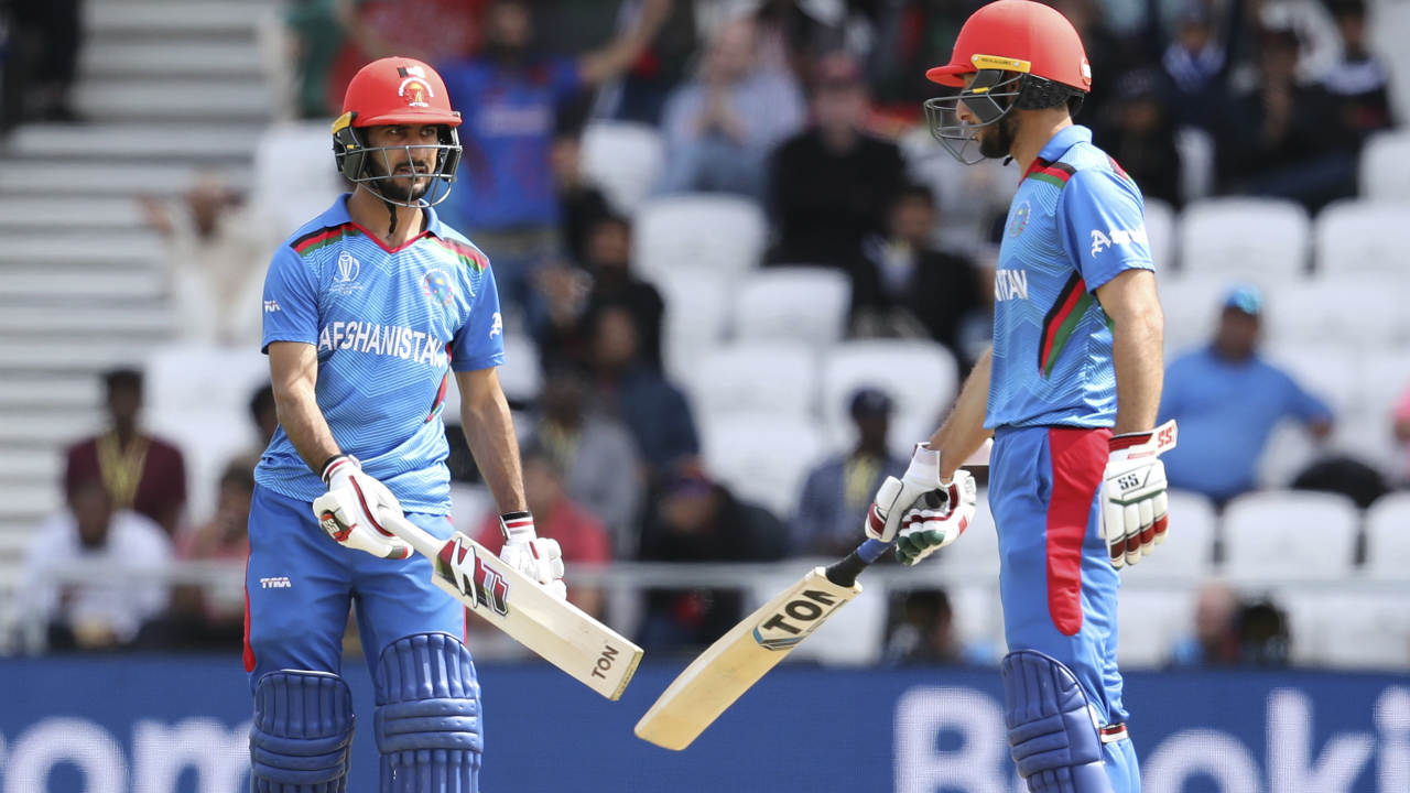 The Afghanistan run-chase got off to an inauspicious start with Kemar Roach getting Gulbadin Naib caught out in just the 2nd over. Rahmat Shah was then joined by Ikram Ali Khil and together they stitched a brilliant 133-run partnership. (Image: AP)