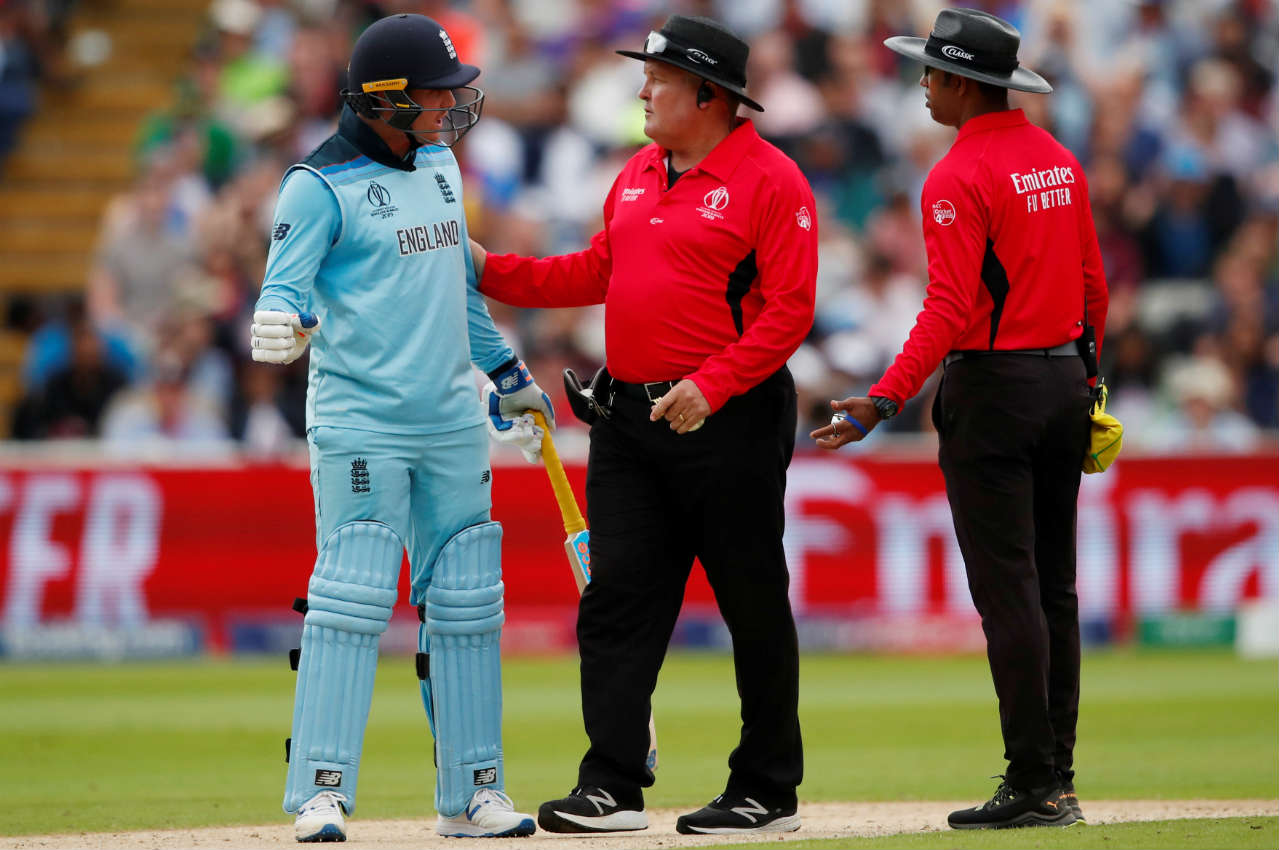 Roy was not a happy man when he was given out caught behind in the 20th over. He engaged in an animated discussion with the Umpires before marching off the field in anger. Roy couldn't use the review as it was wasted by Bairstow. Roy returned with 85 off 65 balls. (Image: Reuters)