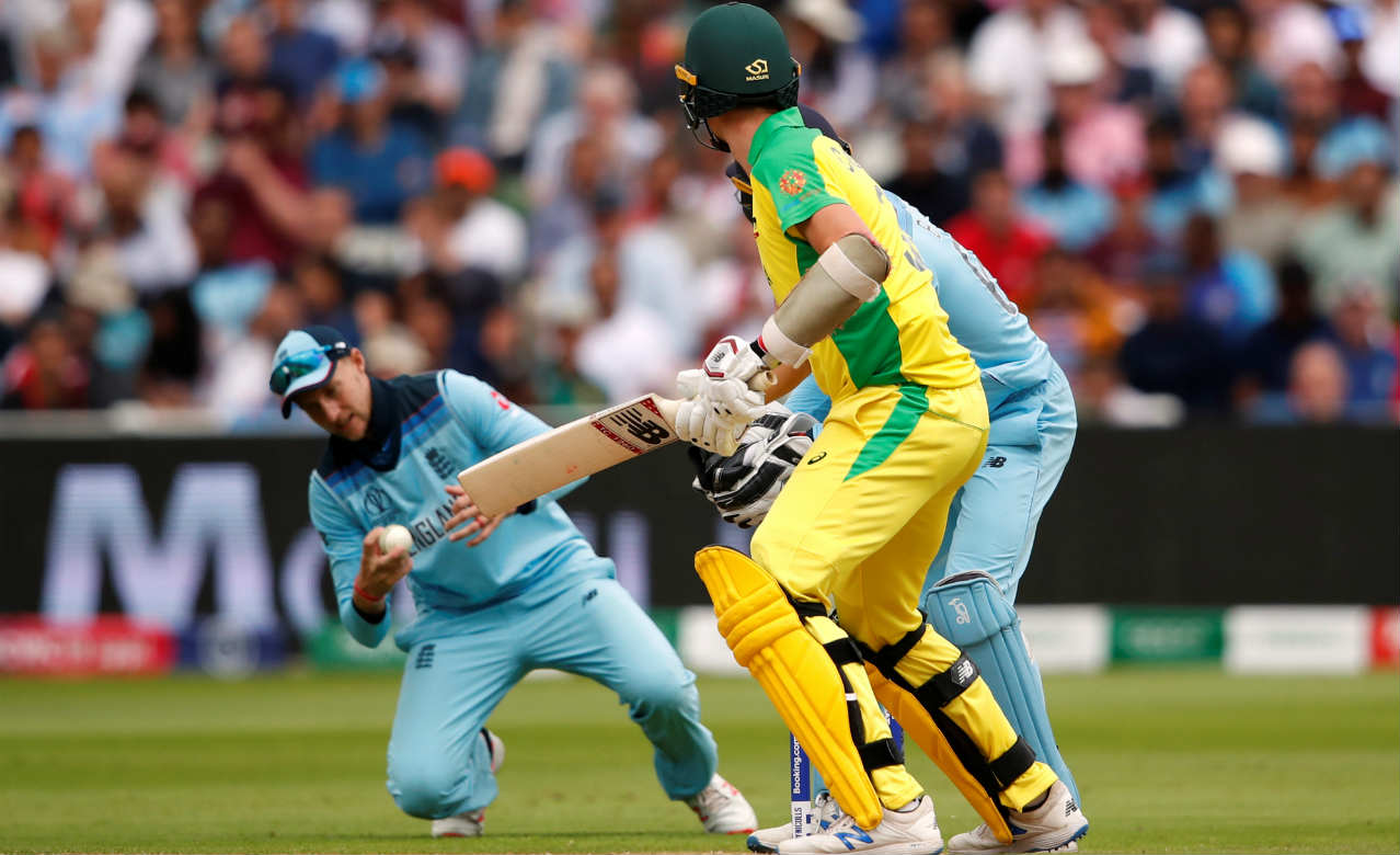 Glenn Maxwell could only score 22 off 23 balls before Archer returned to the attack and dismissed the Aussie with a brilliant slower delivery in the 35th over. It got worse for Australia as Root them showed great reflexes to take a sharp catch dismissing Cummins (6 off 10 balls) in the 38th over bowled by Rashid. Australia were reduced to 166/7 when Cummins walked back. (Image: Reuters)