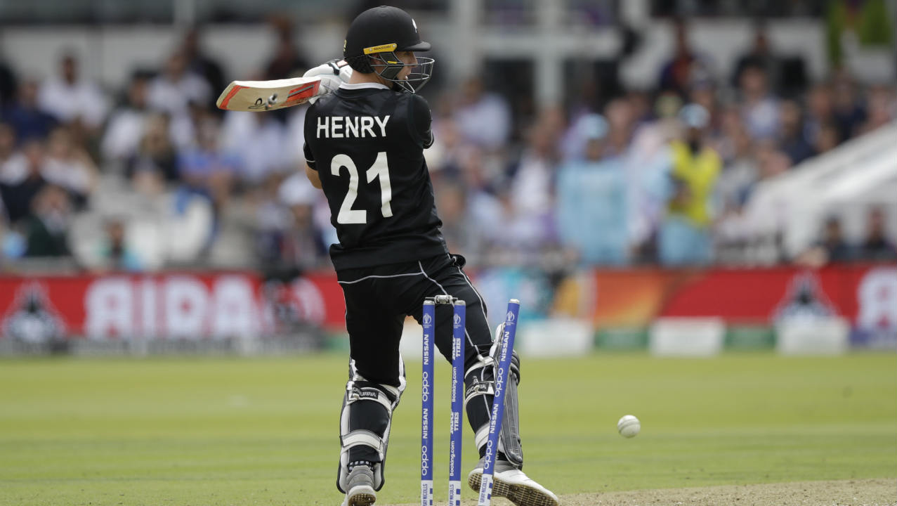 Jofra Archer castled Matt Henry with a quick full toss in the final over to pick up his only wicket of the game. New Zealand finished with 241/8 after 50 overs. Woakes (3/37) and Plunkett (3/42) finished with 3 wickets each while Nicholls top-scored with 55 off 77 balls. (Image: AP)