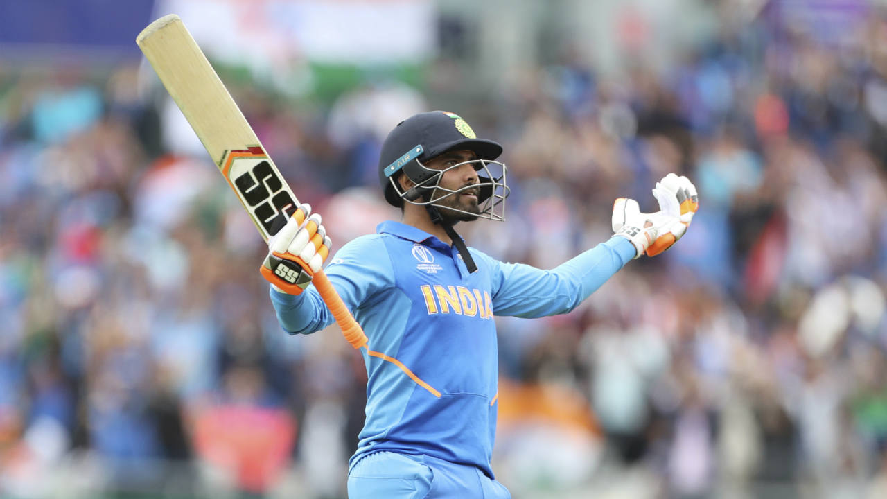 MS Dhoni and Ravindra Jadeja then steadied the ship for India stitching together a brilliant partnership. Jadeja was the more aggressive of the two batsmen and brought up his 50 off just 39 balls in the 42nd over. Jadeja hit three 4s and three 6s on the way to his half-century. (Image: AP)