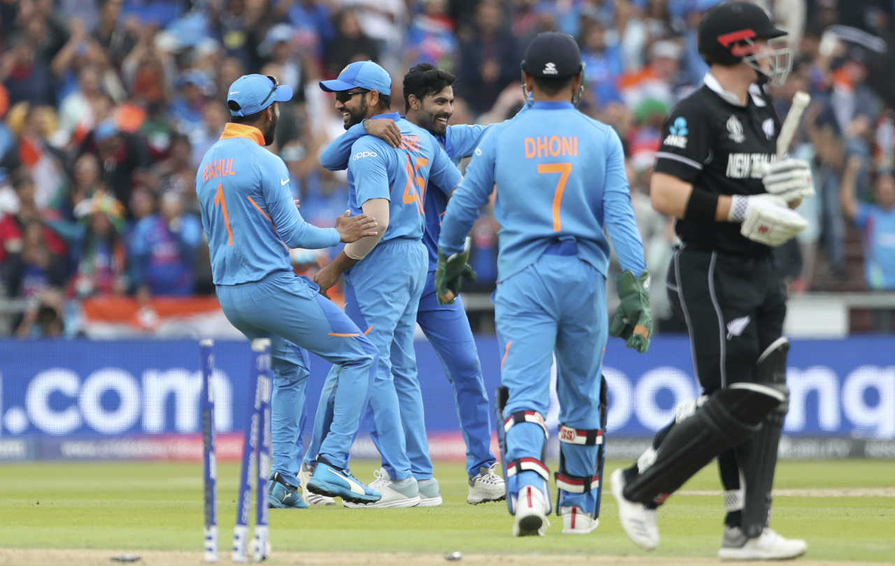 Ravindra Jadeja provided the next breakthrough for India when he castled Nicholls in the 19th over. Jadeja got the ball to spin back sharply into Nicholls, going through the left-hander's defences to hit the stumps. Nicholls returned with 28 off 51 balls. (Image: AP)