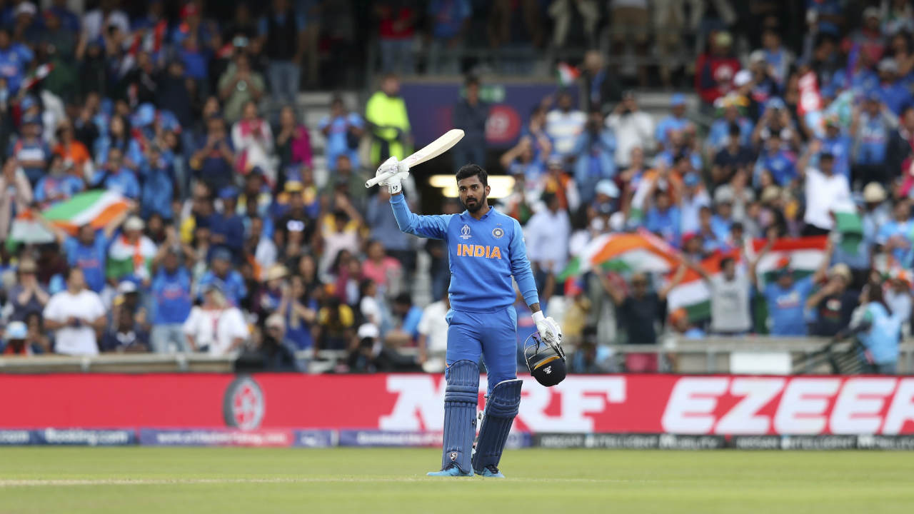 Rahul brought up his maiden World Cup century in the 39th over off 109 balls. He added 55 runs along with Kohli off 65 balls for the 2nd wicket. Lasith Malinga ensured he picked up a wicket in his final World Cup outing when he dismissed Rahul caught behind in the 41st over. India were 244/2 when Rahul walked back. (Image: AP)