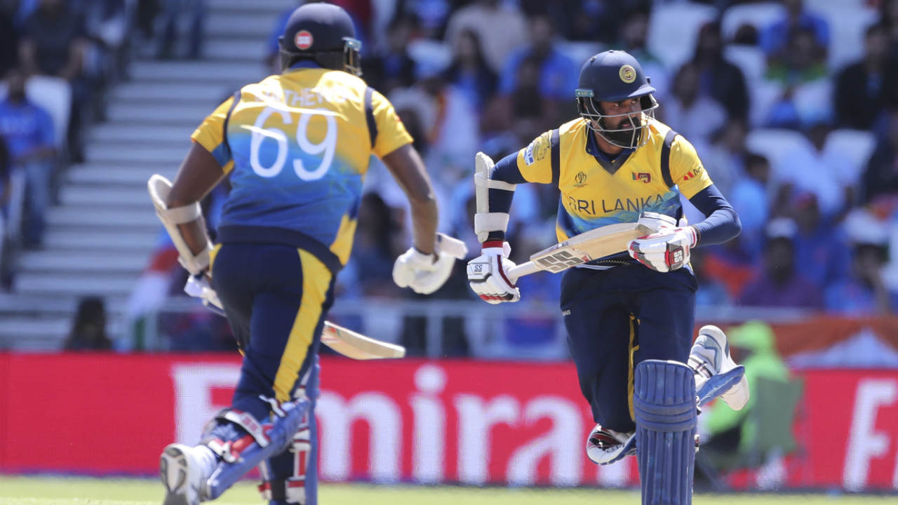 Angelo Mathews and Lahiru Thirimanne then stitched together a brilliant 124-run partnership to drag Sri Lanka back into the game. During the partnership Mathews was the first to bring up his 50 off 76 balls in the 33rd over. Thirimanne followed suit bringing up his 50 off 63 balls in the 36th over. (Image: AP)