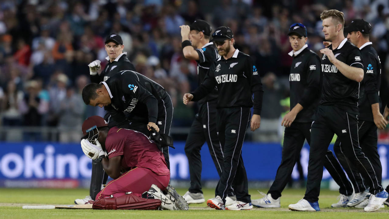 New Zealand 291-8 beat West Indies 286- all out by 5 runs | New Zealand were involved in back-to-back thrillers as Carlos Brathwaite scored his maiden ODI century to take Windies to the brink of victory. Williamson's brilliant 148 helped the Kiwis set a competitive target of 292. West Indies seemed to be cruising to victory before collapsing from 142-2 to 164-7. Brathwaite (102 off 82 balls) then put on a brilliant display with the tail to take Windies to within 5 runs of victory only to hole out at the boundary off the final delivery in the 49th over. (Image: Reuters)