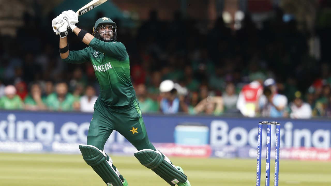 Imad Wasim played a valuable knock of 43 from 26 deliveries to bring some momentum back in Pakistan's innings. Wasim was dismissed by Mustafizur on the fourth delivery of the 50th over. (Image: AP)