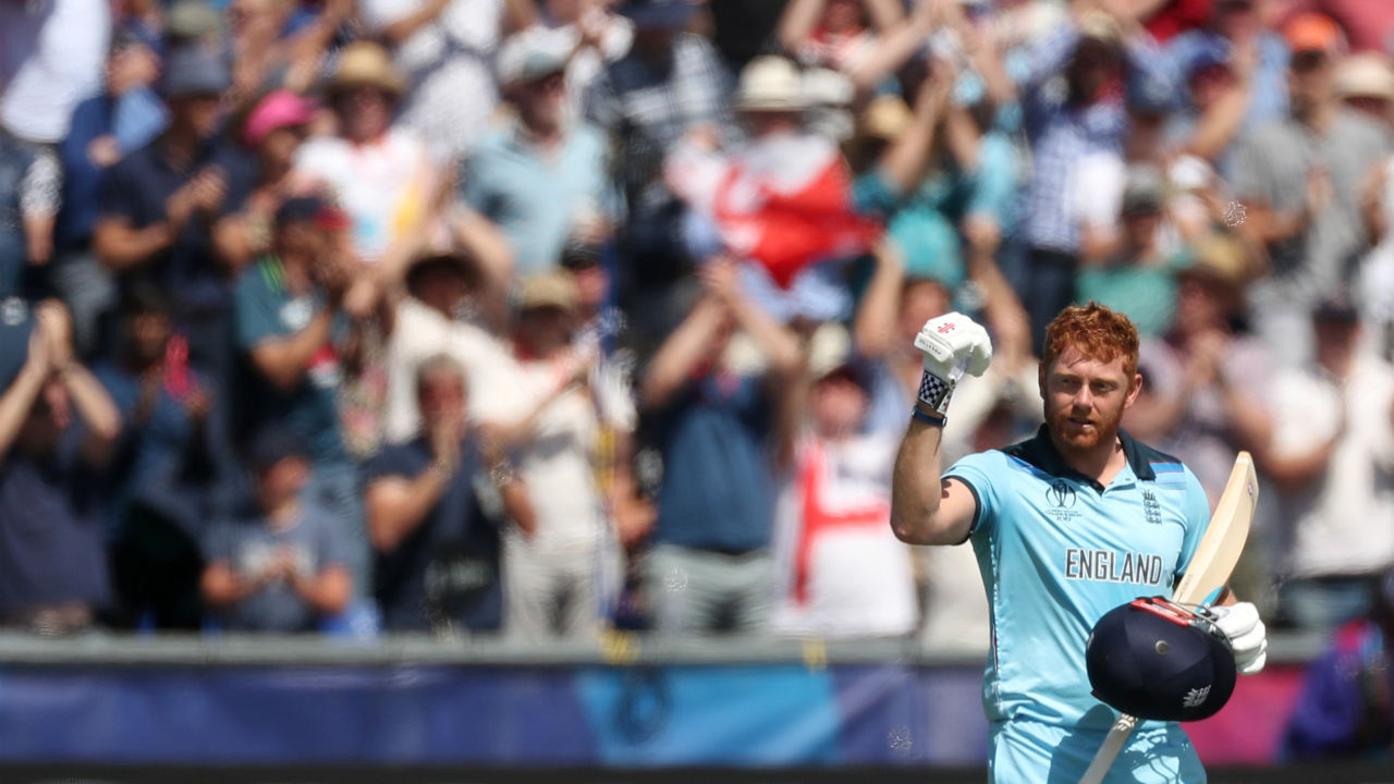Bairstow completed his second successive hundred of this World Cup with a stylish boundary against Tim Southee in the 30th over. Bairstow departed soon after completing his ton as Matt Henry castled the English opener. England were 194/2 when Bairstow walked back. (Image: Reuters)