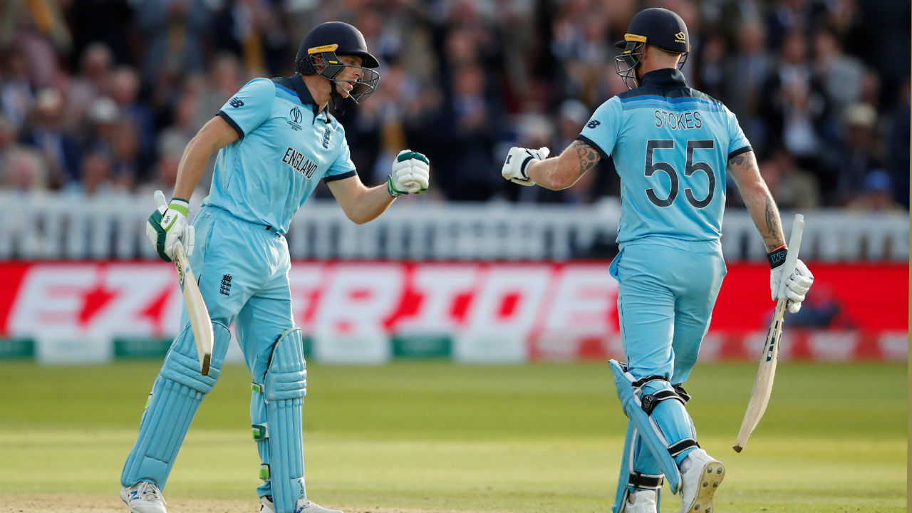 Stokes and Buttler walked out to bat for England in the Super Over. Bolult bowled the Super Over for New Zealand. Buttler and Stokes hammered 15 runs off the Super Over to set New Zealand 16 runs to win the World Cup. (Image: Reuters)