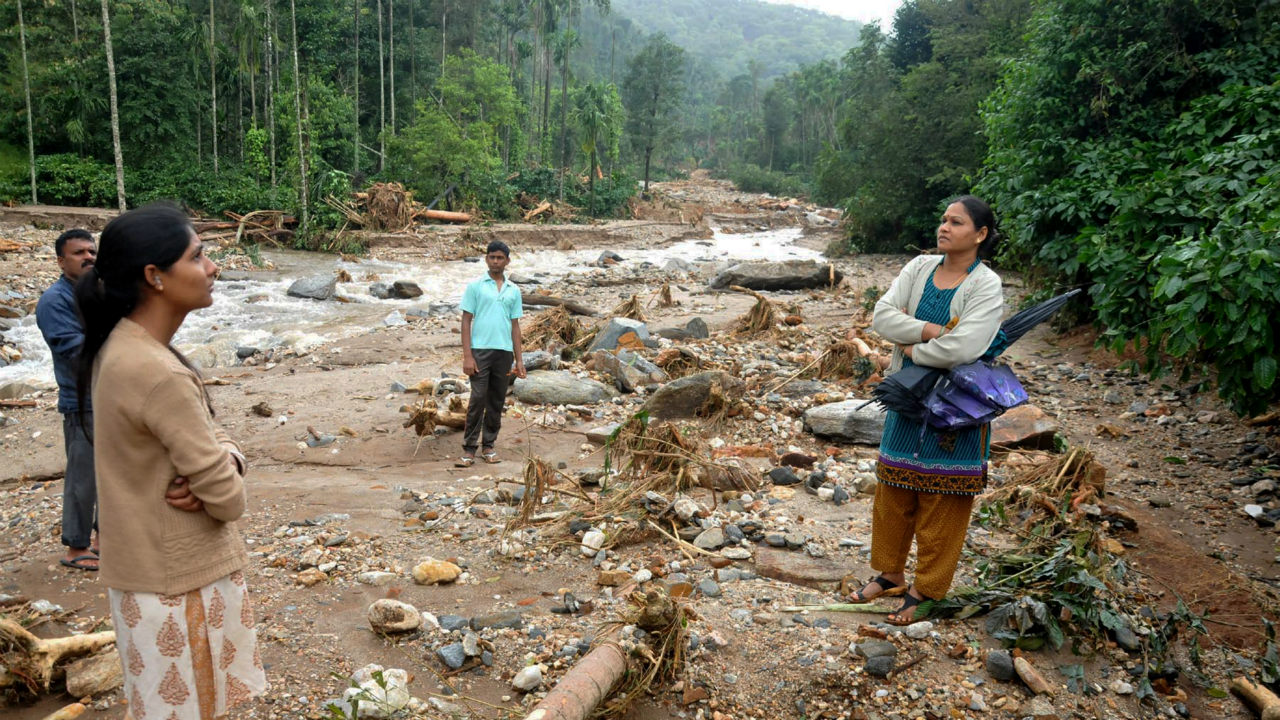 A landslide-hit area after heavy rains at Kottigehara near Chikkamagaluru, Karnataka on August 11, 2019. The Army, Navy, Air Force, Coast Guard, NDRF, police force, volunteers and fishermen are involved in the rescue operation in various states. (Image: PTI)