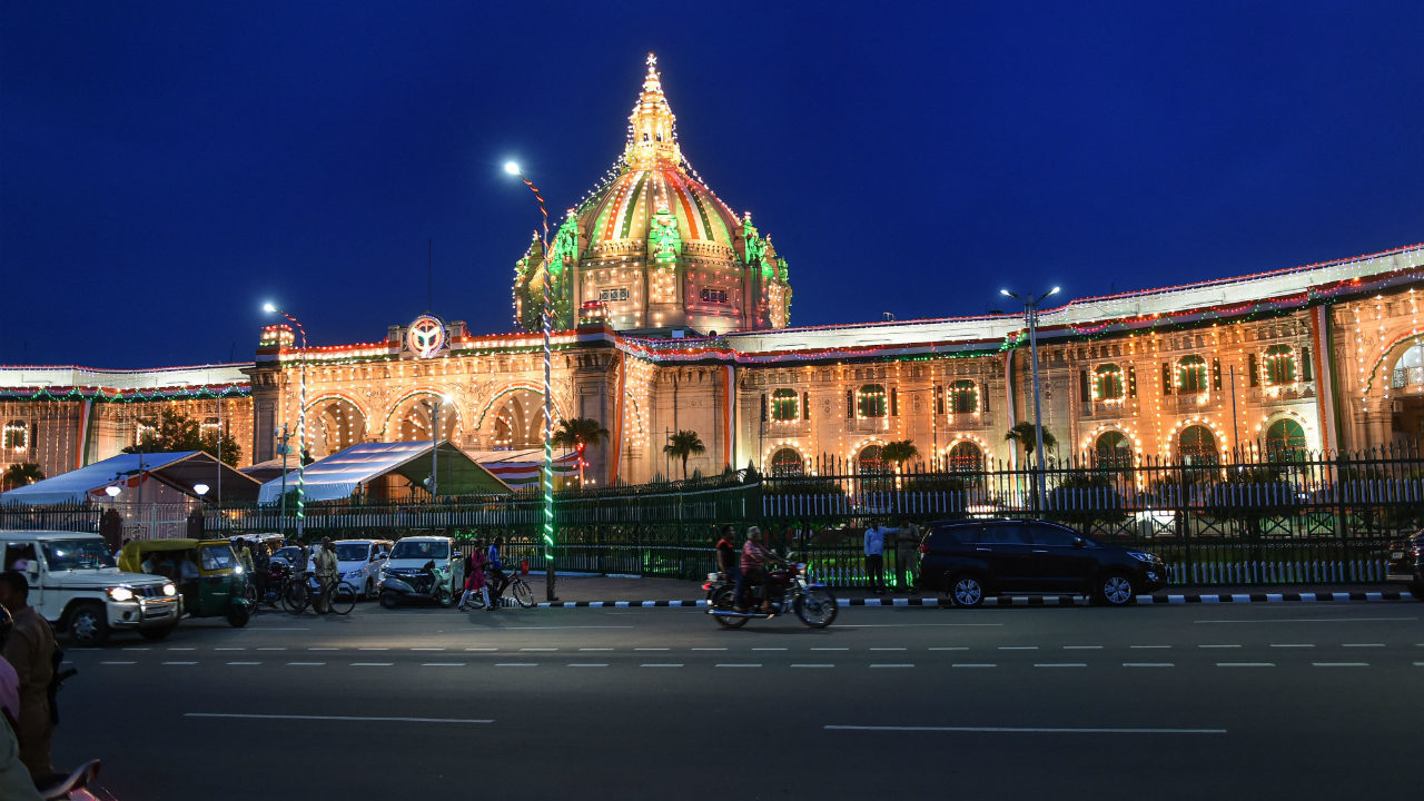 Uttar Pradesh Vidhan Sabha illuminated on the eve of the Independence Day celebrations, in Lucknow on August 13. (Image: PTI)