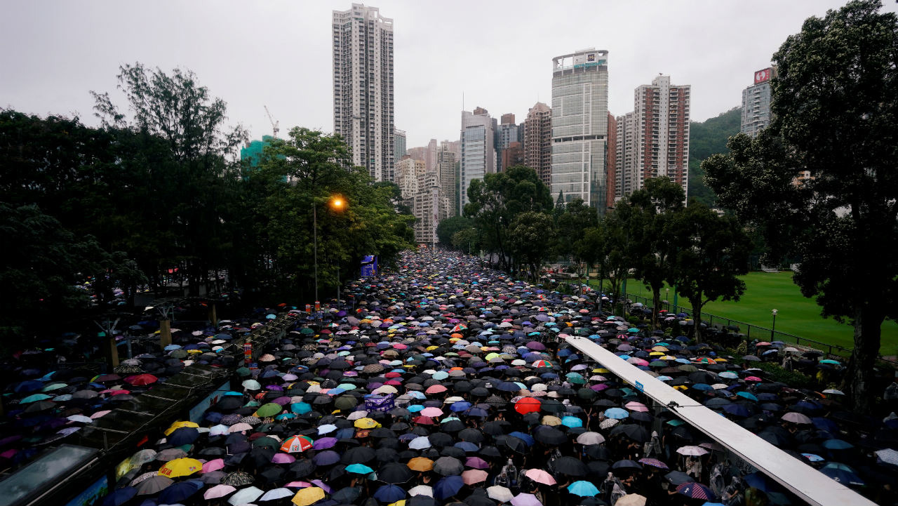 The resistance has taken the form of protests demanding more democratic liberties. In this picture: Anti-extradition bill protesters are marching demanding democracy and political reforms, in Hong Kong, China on August 18, 2019. (Image: Reuters)