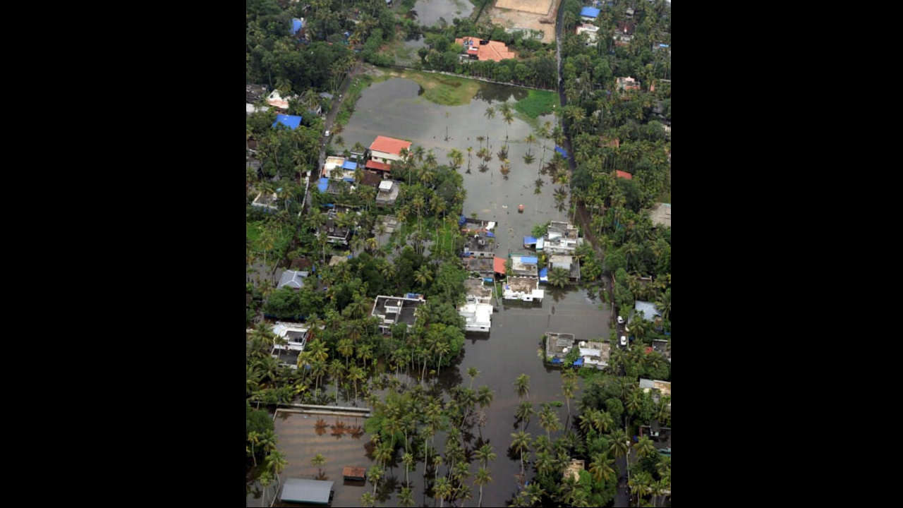 A view of a flood-affected region in Malappuram district Kerala on August 11. According to reports death toll in Kerala has mounted to 72. The situation remained grim in Karnataka Maharashtra and Gujarat where 97 people have lost their lives so far. (I