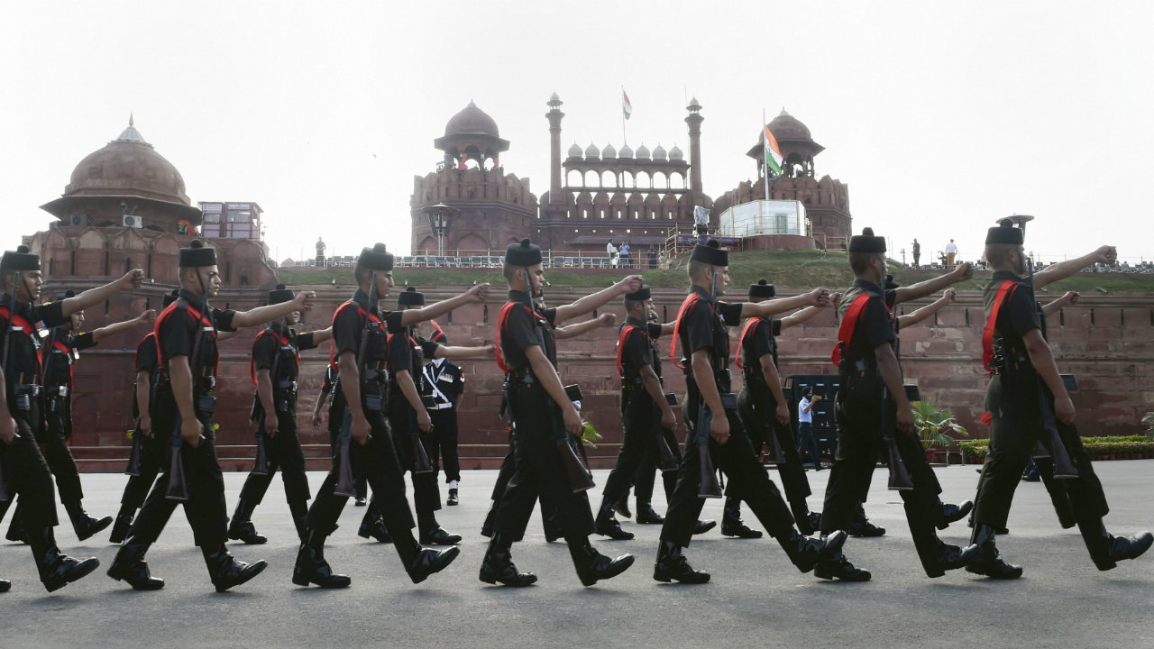 Army soldiers march during the full dress rehearsals at the Red Fort, in New Delhi on August 13. (Image: PTI)