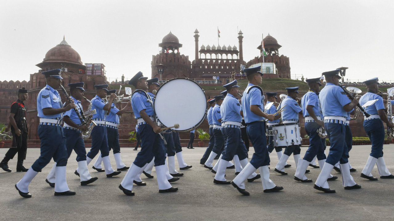 A contingent of Indian Air Force (IAF) band march during the full dress rehearsals for the 73rd Independence Day celebrations at the Red Fort, in New Delhi on August 13. (Image: PTI)