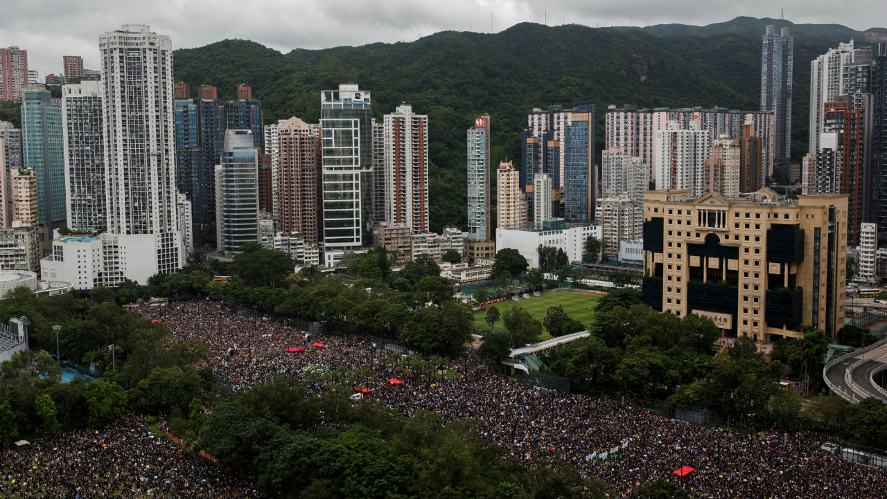 Protesters attend a rally in Hong Kong's Victoria Park demanding political reforms in the special administrative region. According to reports, an estimated 1.7 million people -- a quarter of the population -- defied police orders to stage the peaceful march after a rally in a downtown park. (Image: Reuters)