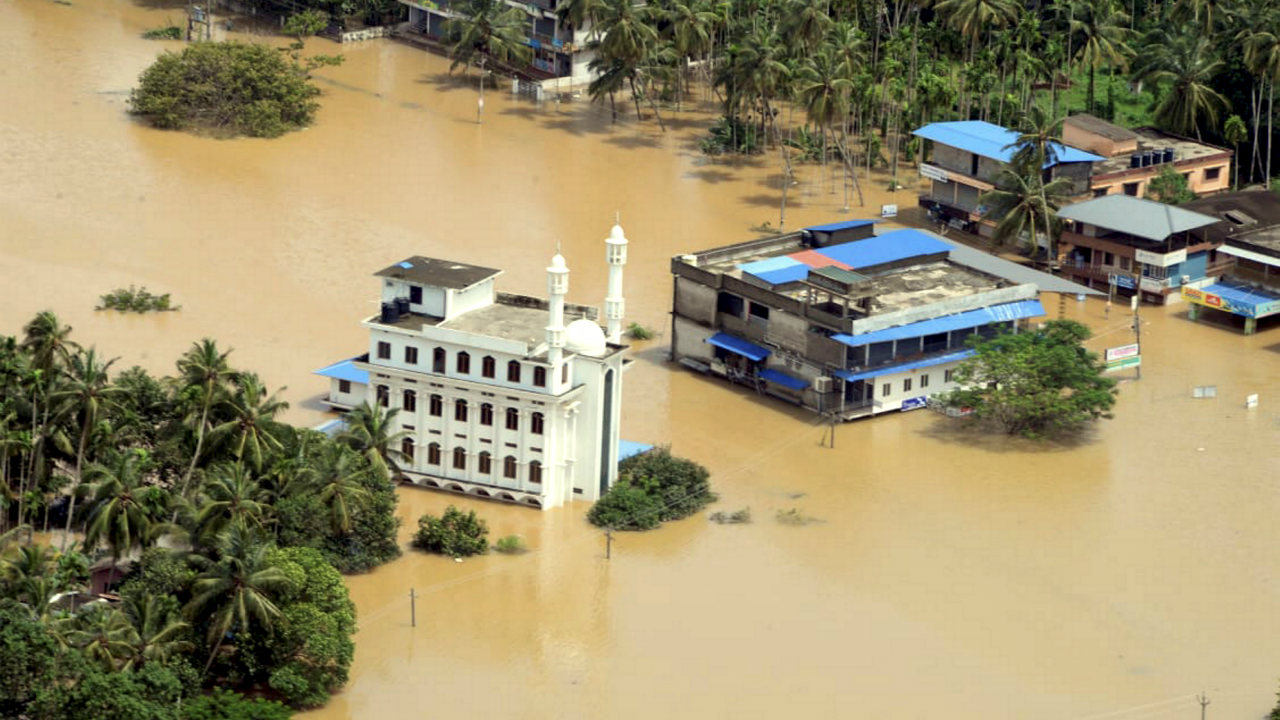A view of a flood-affected region in Malappuram district, Kerala on August 11. Flight operations at the Kochi international airport resumed on August 11 afternoon, two days after it was shut due to inundation of the runway area. (Image: PTI)