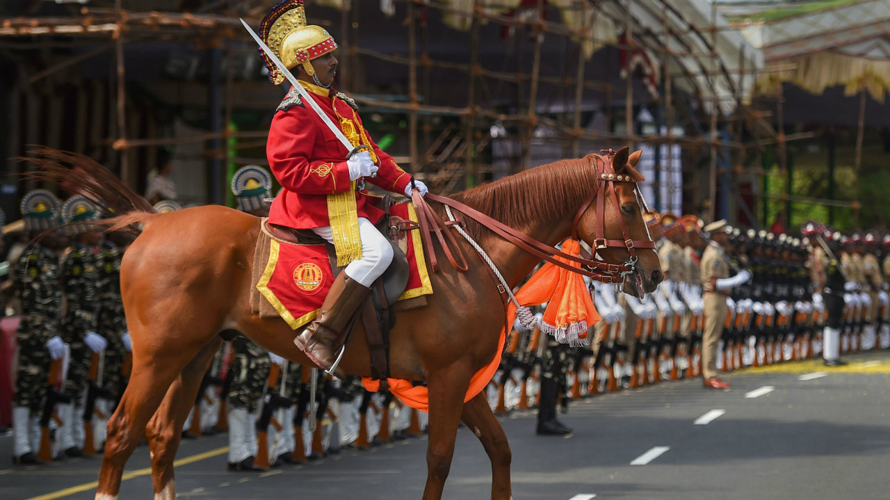 Contingents of armed police forces participate in the full dress rehearsal for the Independence Day parade at Fort St. George in Chennai, Tamil Nadu on August 13. (Image: PTI)
