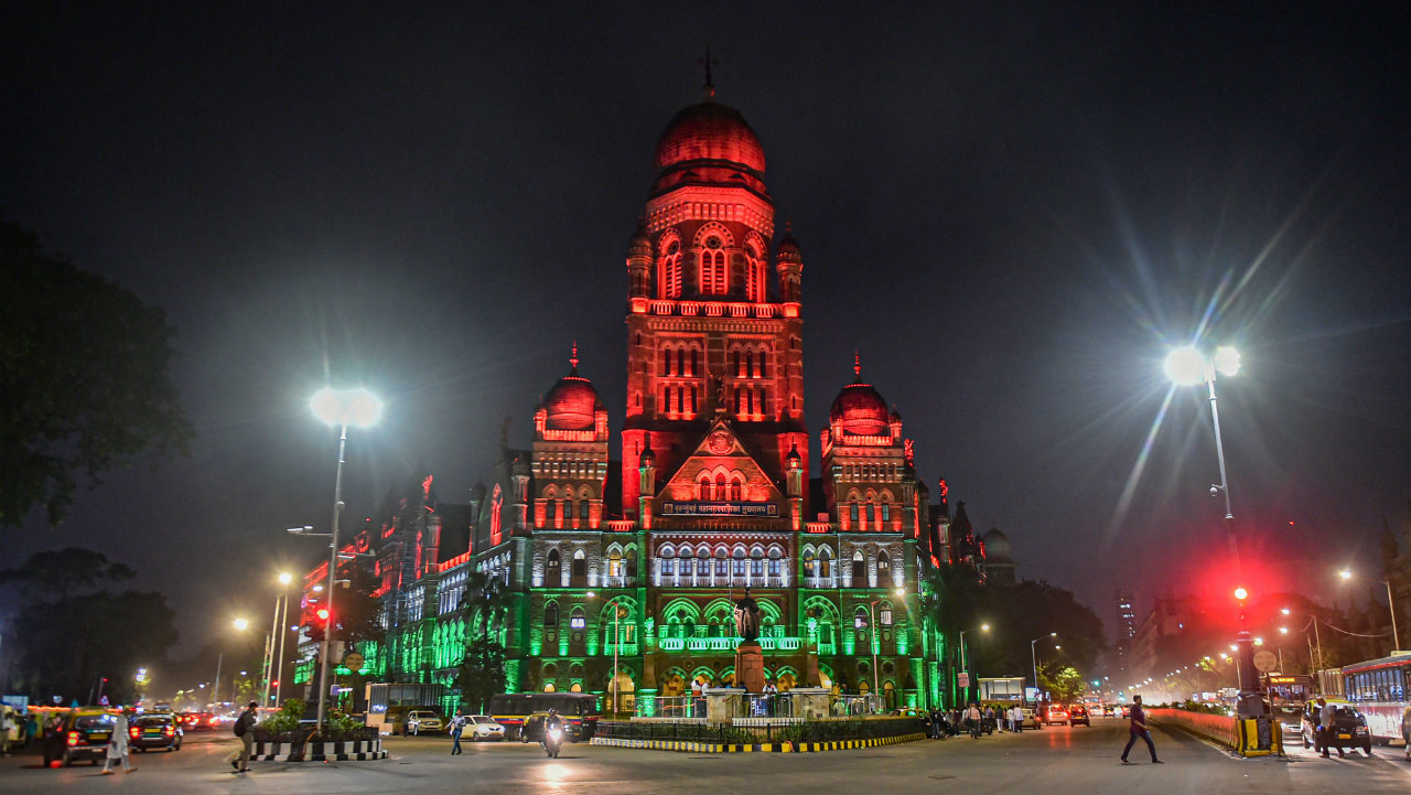 A view of the Brihanmumbai Municipal Corporation (BMC) building in Mumbai lit-up in tricolour on August 13. (Image: PTI)