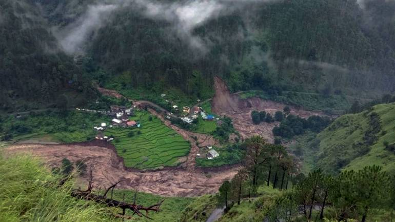 Destruction caused by a landslide following a cloudburst in Uttarakhand's Uttarakashi district on August 18, 2019 (Image: PTI)